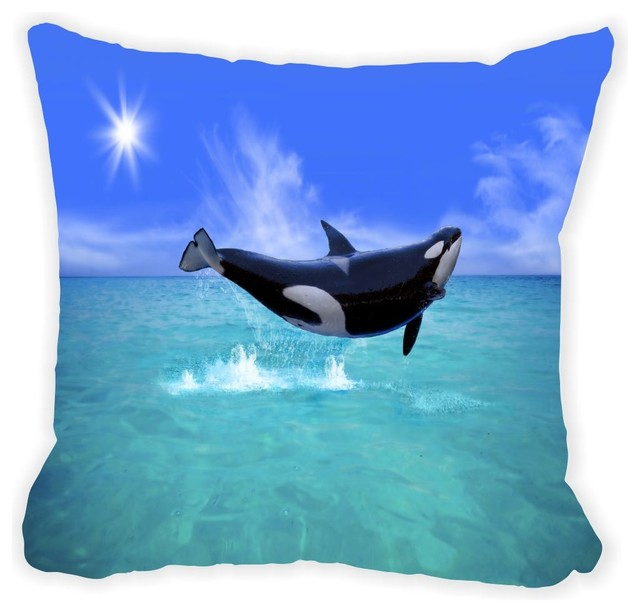 Killer Whale Jump In Blue Ocean Microfiber Throw Pillow, With Fill - Contemporary - Decorative ...