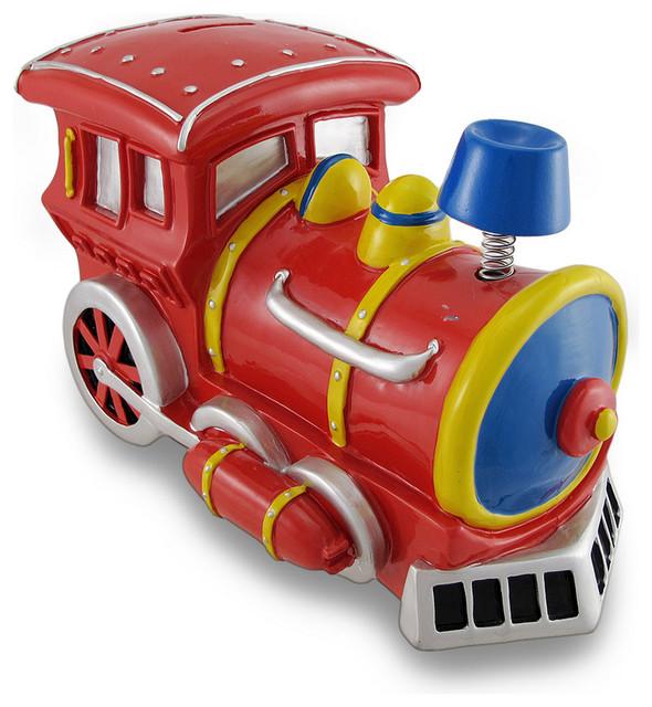 Large bobble smoke stack train engine piggy bank reviews houzz - Train piggy banks ...