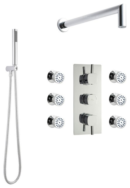 minimalist shower system chrome with integrated arm u0026 spray head handset 6 jets