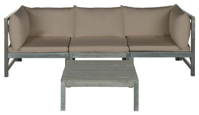 Safavieh Lynwood Indoor/outdoor Modular Outdoor Sectional And Coffee Table.
