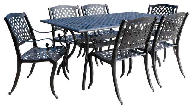 Marietta Outdoor Cast Aluminum Black Sand Dining 7 Piece Set Traditional  Outdoor Dining