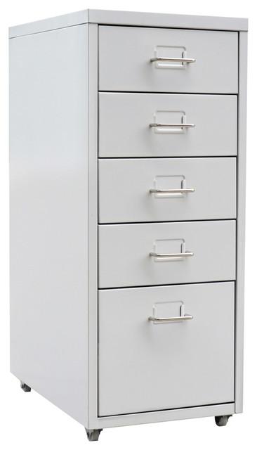 Vidaxl Metal Filing Cabinet With 5 Drawers Grey Contemporary Cabinets By Vida Xl International B V