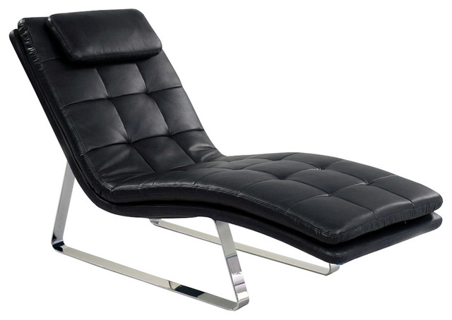Lounge chair in black bonded leather with chrome legs for Black chaise lounge indoor