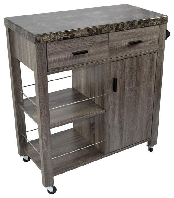 Faux Marble Top Serving Kitchen Cart