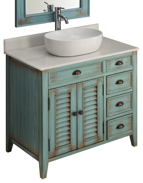Chans Furniture Showroom 36 Distress Blue Abbeville Vessel Sink