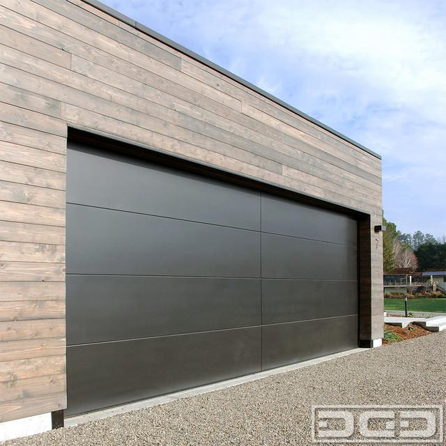 Custom made double car garage door in a minimalistic for Modern minimalist door design