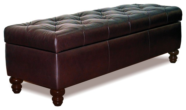 Chesterfield Tufted Leather Storage Bench, Espresso, King