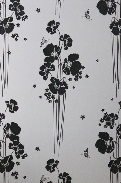 Black Color Flowers Florals Fancy Pattern Static Glass Window Films Stickers.