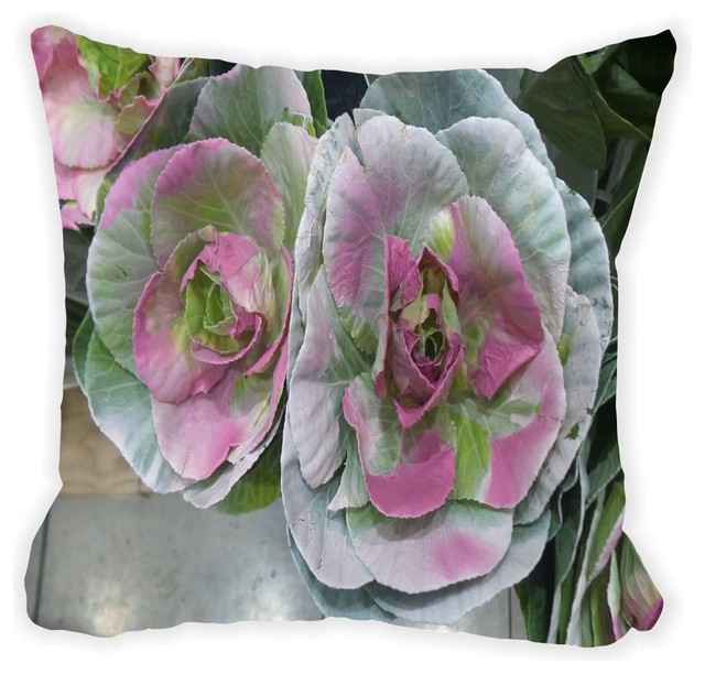 Pink and Green Cabbage Flowers Microfiber Throw Pillow - Contemporary - Decorative Pillows - by ...