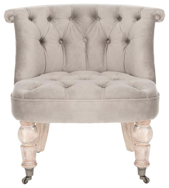 Safavieh Carlin Tufted Chair, Mushroom Taupe.