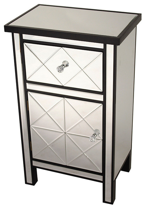 1-Drawer, 1-Door Mirrored Medium Accent Cabinet, MDF, Wood Mirrored Glass, Black