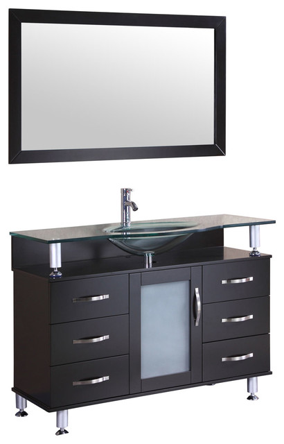 Lesscare Vanity Cabinet Lv1-48b With Sink Glass Top And Mirror.