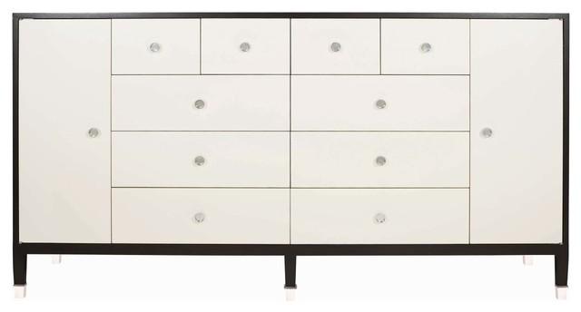 Monroe Modern Clic Art Deco White Espresso Large Dresser Transitional Dressers