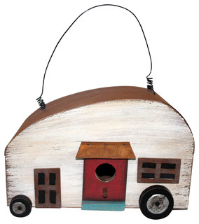 Camper Birdhouse With Red Door - Transitional - Birdhouses ...