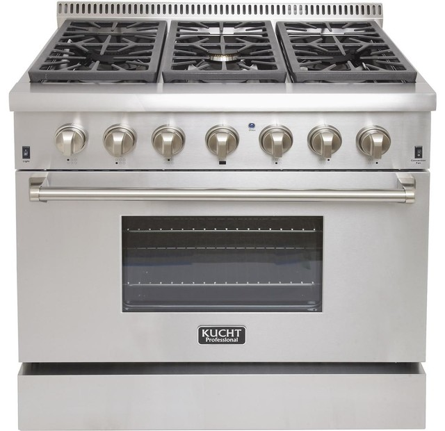 """Kucht 36"""" Professional Natural Gas Dual Fuel Range With 6 Sealed Burners."""