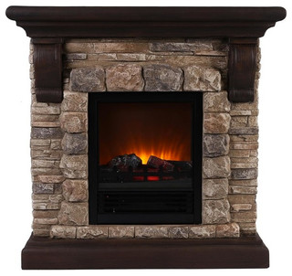 Faux Stone Portable Fireplace - Rustic - Indoor Fireplaces - by OK Lighting