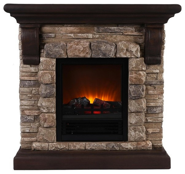 faux stone portable fireplace rustic indoor fireplaces by ok lighting. Black Bedroom Furniture Sets. Home Design Ideas