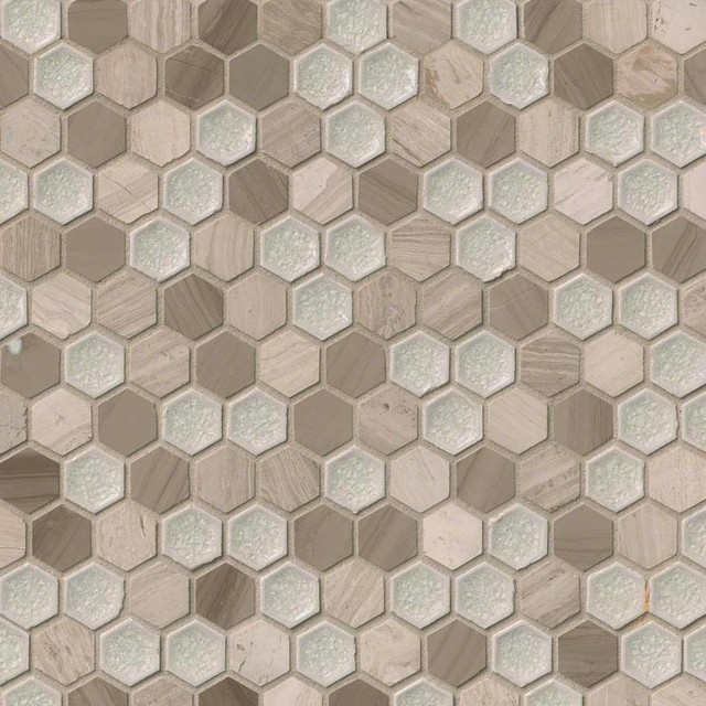 12x12 Hexham Blend Hexagon Mm Traditional Mosaic Tile By
