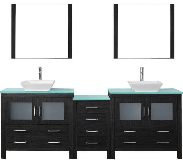 Dior 90 Double Bathroom Vanity Set Zebra Gray, Glass Top, Vessel Sink.