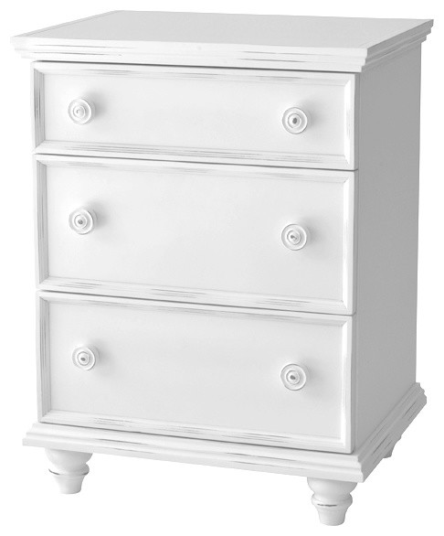 Notting Hill 3-Drawer Nightstand, Bright White.