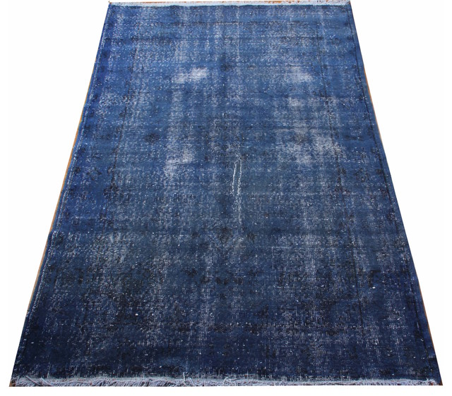 consigned navy blue rectangular vintage turkish rug