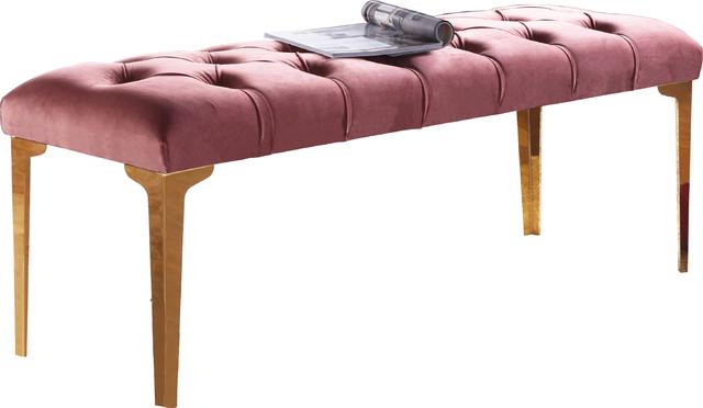 Lucy Pink Velvet Bench.