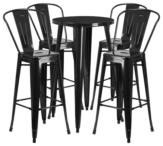 Awe Inspiring 24 Round Black Metal Indoor Outdoor Bar 5 Piece Table Set With 4 Cafe Stools Forskolin Free Trial Chair Design Images Forskolin Free Trialorg