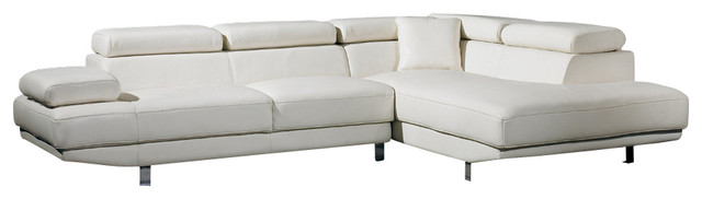 Ultra Modern White Leather Sectional Sofa Contemporary