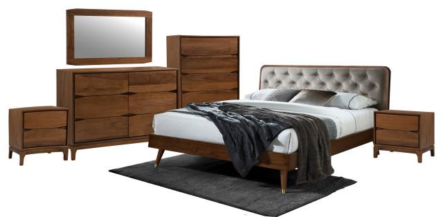 5 Pcs Mid Century Lisa Queen Upholstery, Walnut Queen Bed Set