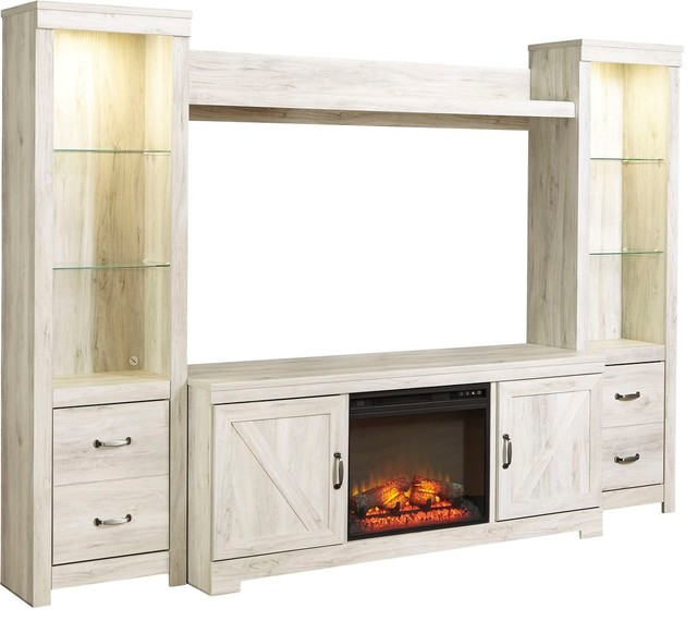 Ashley Furniture Bellaby Entertainment Center With Fireplace Whitewash Farmhouse Centers And Tv Stands By The Sleepers Pe