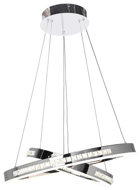 Affluence LED Dual Ring Pendant, Chrome Finish, Crystal Clear Glass Shade