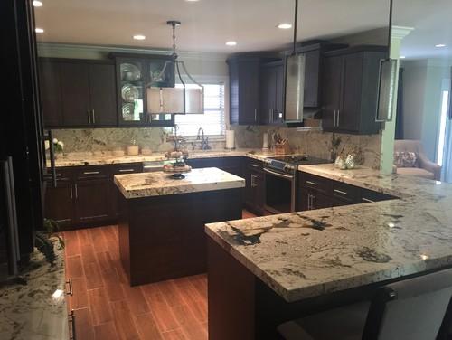kitchen remodeling expresso kitchen cabinets and alpine white granite  rh   houzz com
