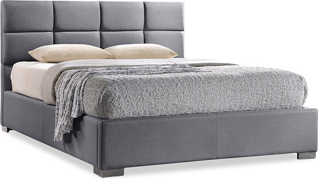 Sophie Modern And Contemporary Fabric Upholstered Platform Bed, Gray, King.