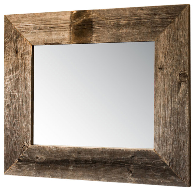 """Mirror With Barnwood Frame, 22""""x26"""", Natural."""