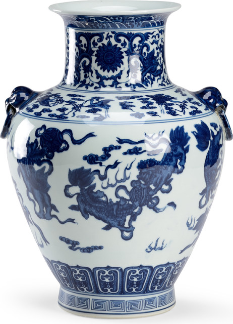 Ming Handled Vase, Blue, White Porcelain