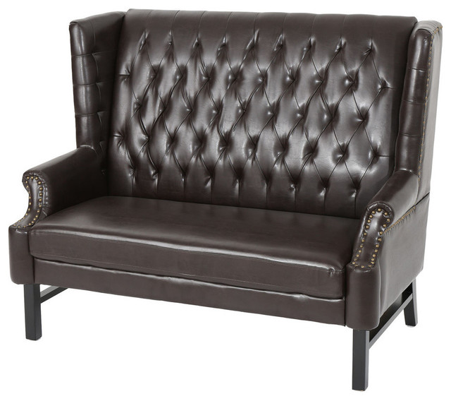 Gdf Studio Estelle High Back Tufted Winged Brown Leather Loveseat Transitional Loveseats By Gdfstudio