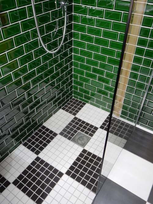 A small bathroom project with a unique tile design for Unique bathroom tile designs
