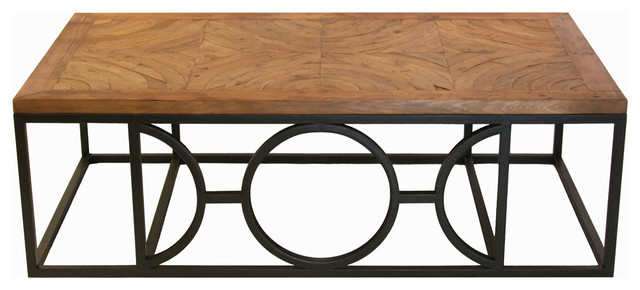 Circle Parquet French Contemporary Wood Coffee Table Traditional Coffee Tables