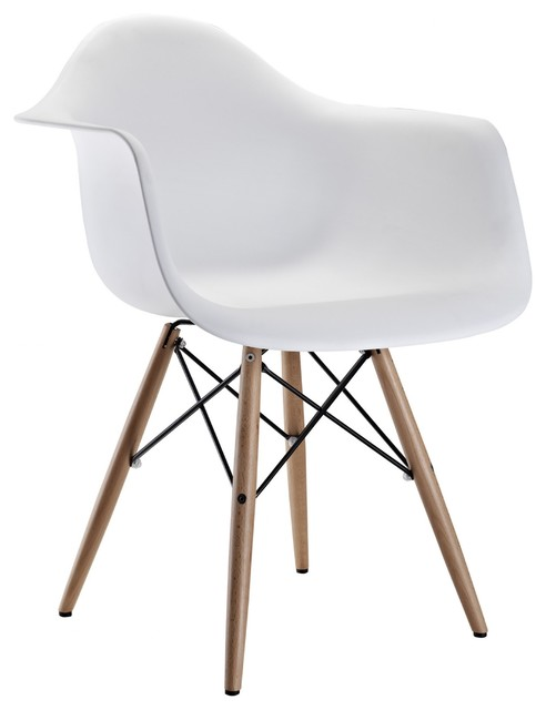 Eames Style Molded Plastic Dowel Leg Armchair (DAW) Set Of 2, White