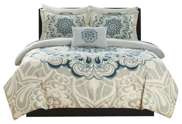 Palmer Blue Twin 6 Piece Comforter Set