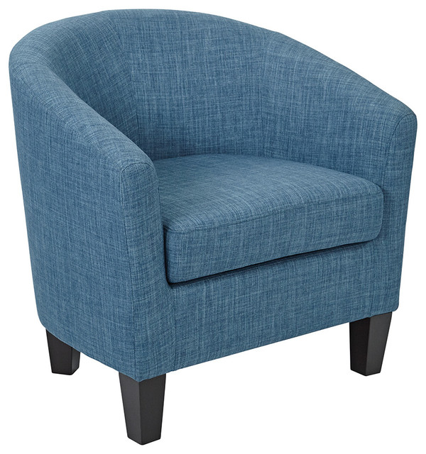Ethan Tub Chair Blue Denim Fabric Contemporary