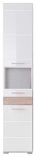Contemporary High Gloss Bathroom Furniture Tall Cabinet Unit, White Finish