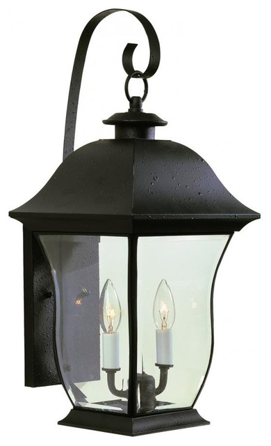 Two Light Black Clear Beveled Curved Rectangle Glass Wall Lantern.