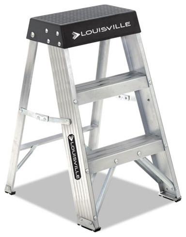 """Aluminum Step Stool, 17""""x18 1/4 Spread X26, Aluminum/black."""