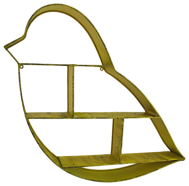 Decorative Metal Wall Shelves yellow bird shaped decorative metal shelf wall sculpture - display