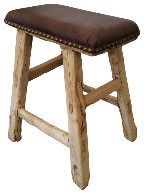Reclaimed Wood Stool With Leather Top rustic-footstools-and-ottomans  sc 1 st  Houzz & Reclaimed Wood Stool With Leather Top - Rustic - Footstools And ... islam-shia.org