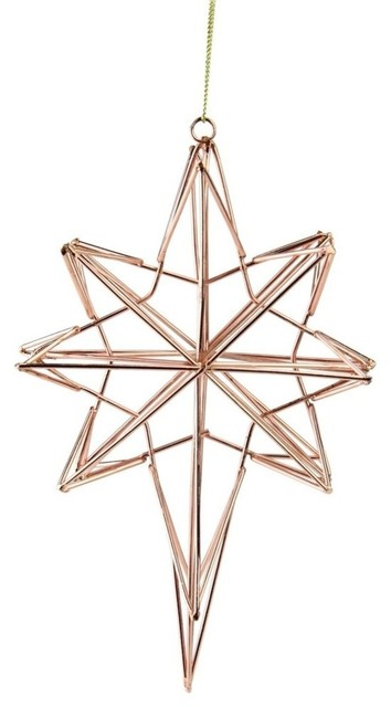 6 75 Rose Gold Geometric Wire 8 Point Star Christmas Ornament