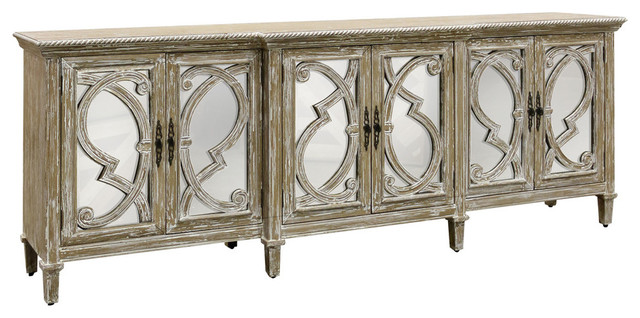 Naples, 6 Door Mirrored Front Cabinet, Weathered Taupe.