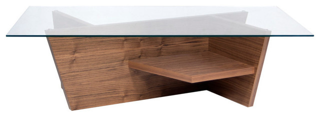 Oliva Coffee Table With Glass Top, Walnut.