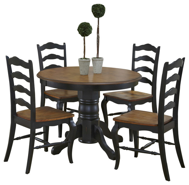 oak and rubbed black 5 piece dining set transitional dining sets
